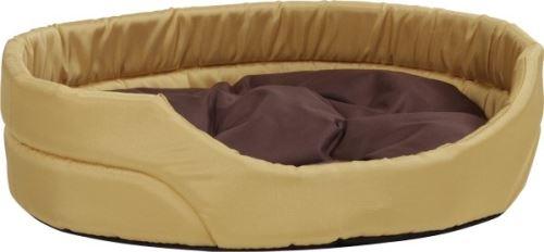 Pelech pro psa Argi oválný s polštářem - žlutý - 46 x 37 x 13 cm