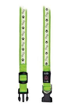 Obojek pro psa svítící - Trixie Usb - zelený - 2,5 x 30 - 40 cm