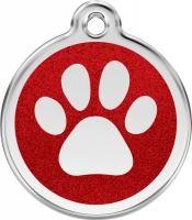 Red Dingo Známka třpytivá vzor tlapka červená