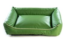 Pelech pro psa Argi obdélníkový - snímatelný potah z eko kůže - zelený - 90 x 70 cm