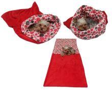 Marysa pelíšek 3v1 pro psy, červený/červená kolečka, velikost XL