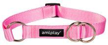 Obojek pro psa polostahovací nylonový - růžový - 1,5 x 25 - 40 cm