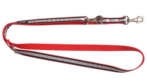 Vodítko pro psa přepínací nylonové reflexní - červené - 2,5 x 100 - 200 cm