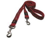 Vodítko pro psa nylonové přepínací - Rogz Fancy Dress Bones on Red - 1,6 x 160 cm