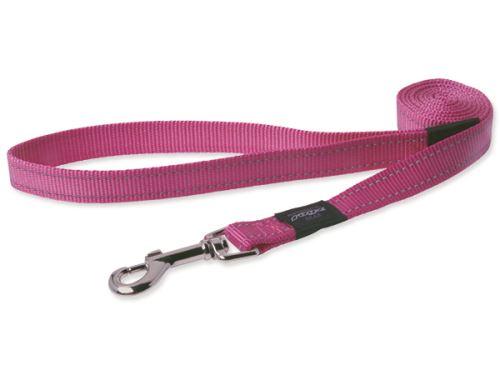 Vodítko pro psa nylonové - reflexní - Rogz Utility - růžové - 1,1 x 180 cm