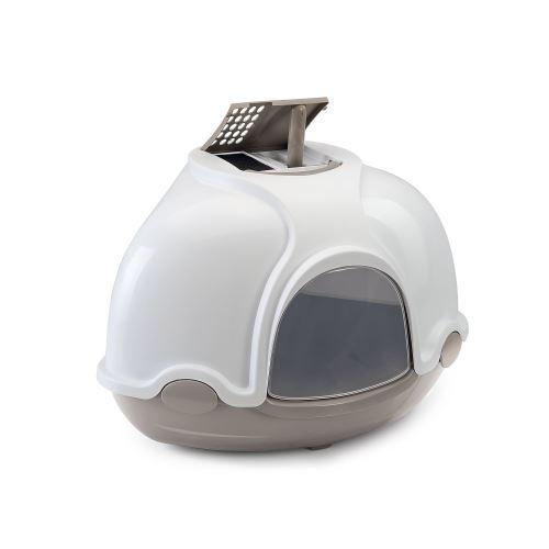 Krytý kočičí záchod rohový s filtrem Argi - šedý - 52x52x44,5