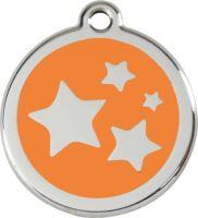 Red Dingo Známka oranžová vzor hvězdičky - velikost M, 30 mm