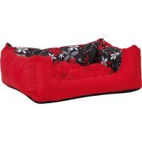 Pelech pro zvířata Argi obdélníkový s polštářem - červený se vzorem - 45 x 35 x 18 cm