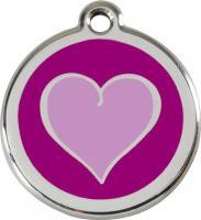 Red Dingo Známka fialová vzor srdce - velikost L, 37 mm