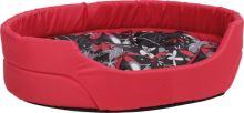 Pelech pro psa Argi oválný s polštářem - červený se vzorem - 57 x 49 x 16 cm