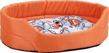 Pelech pro psa Argi oválný s polštářem - oranžový se vzorem - 102 x 90 x 20 cm