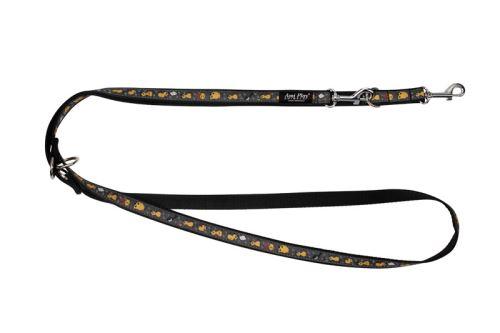 Vodítko pro psa přepínací nylonové - černé se vzorem - 1,5 x 100 - 200 cm