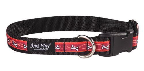 Obojek pro psa nylonový - červený se vzorem kost - 2,5 x 45 - 70 cm