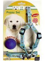 Postroj štěně nylon + vodítko modré KAR 15 - 30 cm / 130 cm