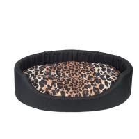 Pelech pro psa Argi oválný s polštářem - černý se vzorem - 58 x 50 x 15 cm
