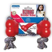 Kong Goodie Bone Kost gumová s přetahovadlem z odolného lana červená - velikost M