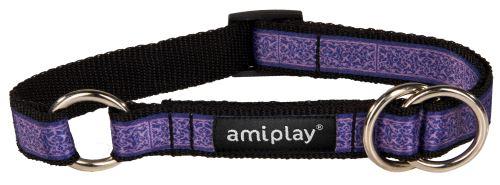 Obojek pro psa polostahovací nylonový - fialový se vzorem - 1,5 x 25 - 40 cm