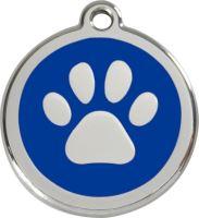 Red Dingo Známka modrá vzor tlapka - velikost S, 20 mm