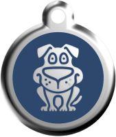 Red Dingo Známka modrá vzor pes - velikost M, 30 mm
