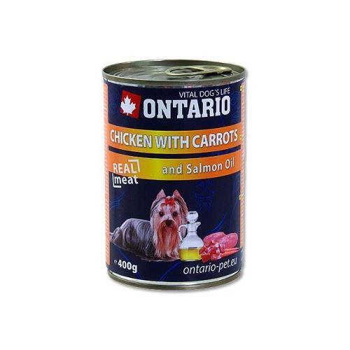 Ontario Chicken, Carrots, Salmon Oil konzerva - kuřecí & mrkev & lososový olej pro dospělé psy 400 g
