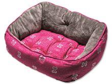Rogz Trendy Pink Bones Pelíšek s polštářkem pro psy, velikost S, 48x35x24,5 cm