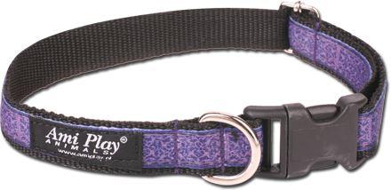 Obojek pro psa nylonový - fialový se vzorem - 2 x 35 - 50 cm