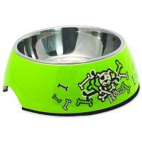 Rogz Bowlz Bubble - Miska pro psy nerezová a plastová Lime Bones, 350 ml