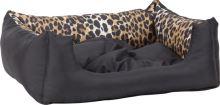 Pelech pro zvířata Argi obdélníkový s polštářem - černý se vzorem - 45 x 35 x 18 cm
