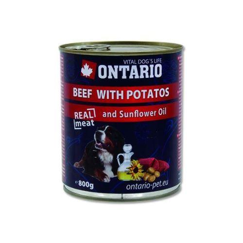 Ontario Beef, Potatos, Sunflower Oil konzerva - hovězí & brambory & slunečnicový olej pro dospělé psy 800 g