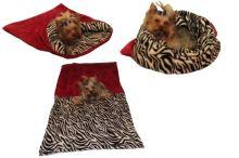 Marysa pelíšek 3v1 pro psy, fuchsiový/zebra, velikost XL