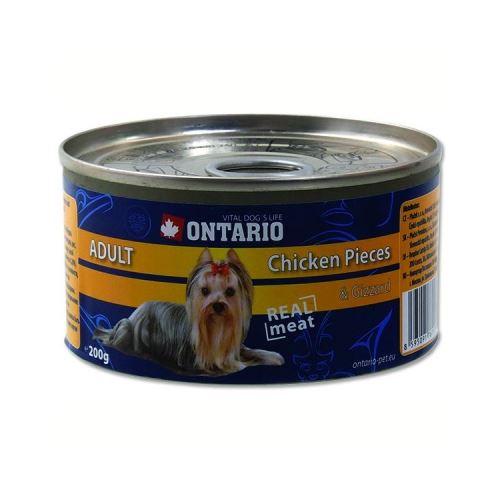 Ontario Chicken Pieces & Gizzard konzerva - kuřecí kousky & žaludky pro dospělé psy 200 g