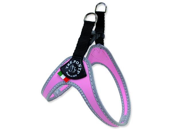 Tre Ponti Reflexní postroj pro psy 3-4 kg růžový
