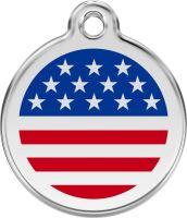 Red Dingo Známka modrá vzor americká vlajka - velikost S, 20 mm