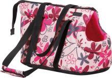 Taška pro psa - polyesterová - růžová se vzorem - 35 x 21 x 24 cm