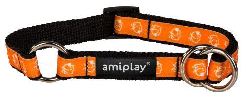 Obojek pro psa polostahovací nylonový - oranžový se vzorem pes - 1,5 x 25 - 40 cm