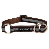 Obojek pro psa polostahovací nylonový reflexní - hnědý - 2,5 x 34 - 55 cm