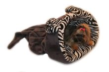 Marysa pelíšek 2v1 s lemem, MYŠÁK, šedý/zebra, velikost XL