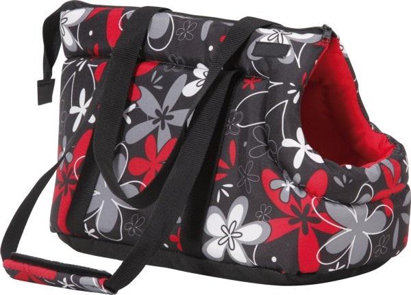 Taška pro psa Argi z polyesteru - červená se vzorem - 42 x 26 x 30 cm
