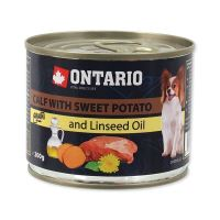 Konzerva ONTARIO Dog Mini Calf, Sweetpotato, Dandelion and Linseed oil 200 g