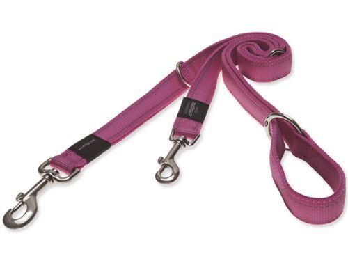 Vodítko pro psa přepínací nylonové reflexní - Rogz Utility - růžové - 1,1 x 180 cm