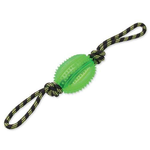 Přetahovadlo DOG FANTASY lano s míčem zelené 38 cm