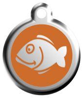 Red Dingo Známka oranžová vzor rybka - velikost S, 20 mm