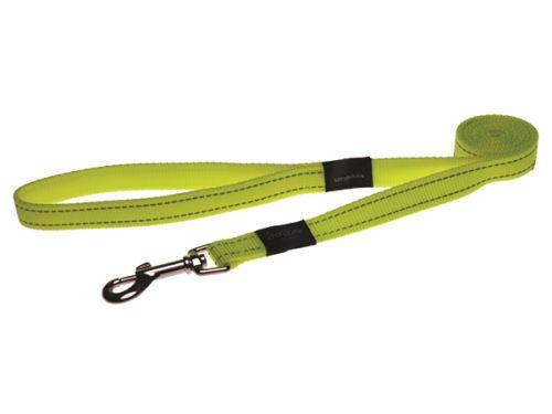 Vodítko pro psa nylonové - reflexní - Rogz Utility - žluté - 1,6 x 180 cm