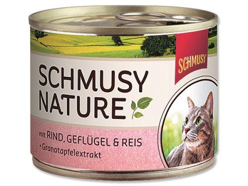 Schmusy Nature Menu konzerva - hovězí & drůbež 190 g