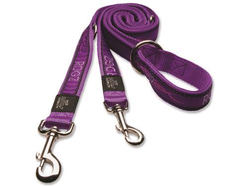 Vodítko pro psa přepínací nylonové - Rogz Fancy Dress Purple Chrome - 1,6 x 160 cm