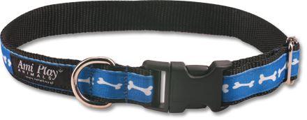 Obojek pro psa nylonový - modrý se vzorem kost - 2,5 x 45 - 70 cm