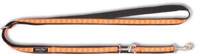 Vodítko pro psa přepínací nylonové - oranžové se vzorem pes - 2,5 x 100 - 200 cm