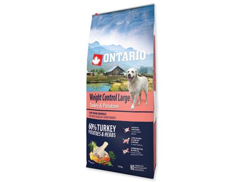 ONTARIO Dog Large Weight Control Turkey & Potatoes & Herbs + 2,25 kg ZDARMA