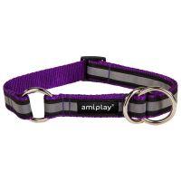 Obojek pro psa polostahovací nylonový reflexní - fialový - 2 x 26 - 48 cm