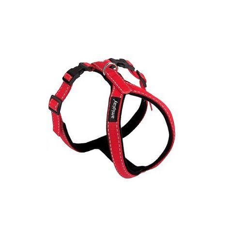 Postroj pro psa nylonový reflexní - červený - 1 x 26 x 34 - 43 cm